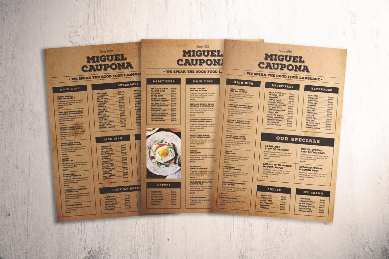 печать меню изготовление меню для кафе и ресторанов