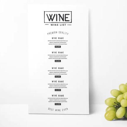 печать винной карты